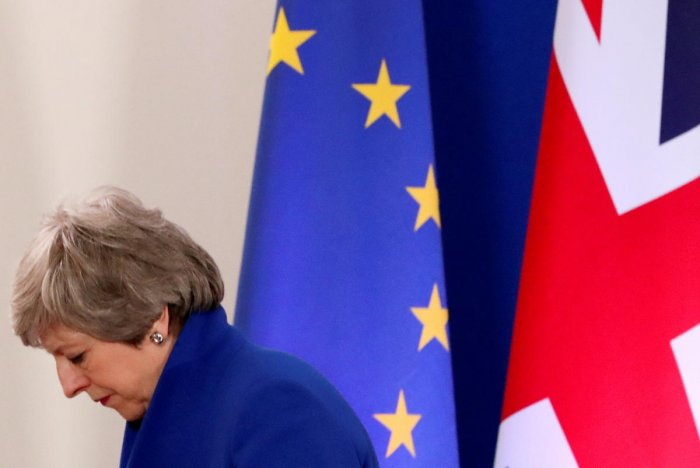 British Prime Minister Theresa May leaves after a news conference following an extraordinary European Union leaders summit to discuss Brexit, in Brussels, Belgium April 11, 2019. REUTERS photo