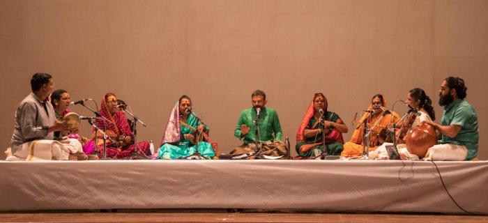(From left) B S Purushotham (Kanjira), Sagar Bhaskar (tala and chorus), Laxman Bhonsle (Chowdiki and lead vocalist), Rakhi Pasare (Suttagi and chorus), T M Krishna (vocals), Siddappa (Chowdiki and lead vocalist), Dawal Saheb (Suttagi and chorus), Akkarai