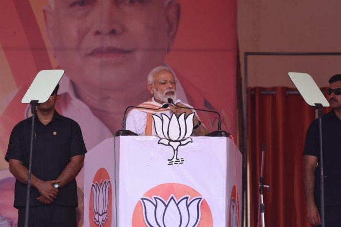 PM Modi during the Chitradurga rally.