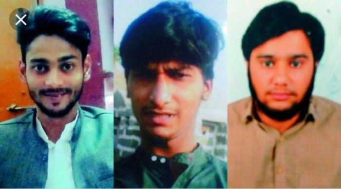 (L to R) File photos of Basith, Hassan and Omar who were arrested by NIA last year from Hyderabad.