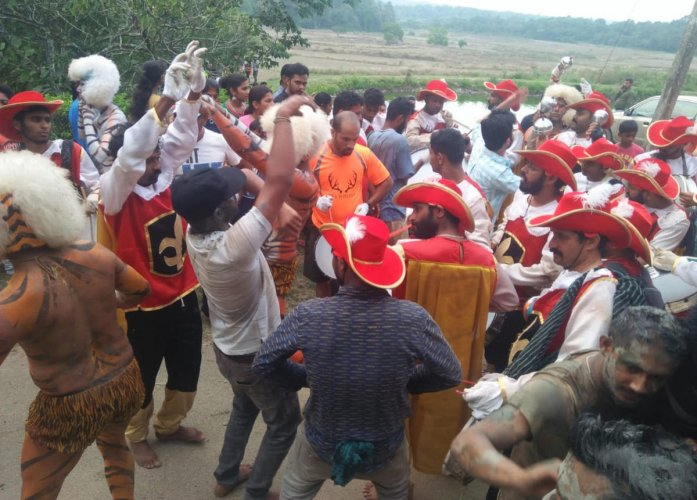 People wore different costumes as a part of 'Bod Namme' in Chembebelluru village.