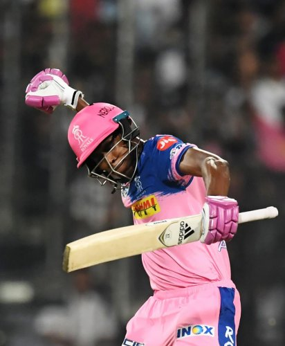 DELIGHTED: Rajasthan Royals' Jofra Archer celebrates after scoring the winning run against Kolkata Knight Riders. Archer made unbeaten 27 of 12 balls. AFP