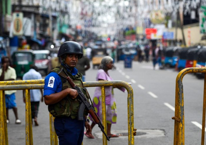 A Sri Lankan soldier stands guard outside St Anthony's Shrine in Colombo. AFP file photo