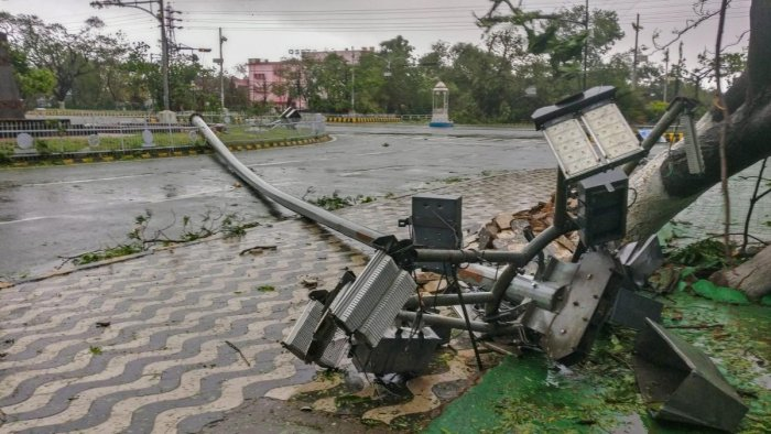 A wind uprooted street light lies on a road after Cyclone Fani made landfall, in Bhubaneswar. (PTI Photo)