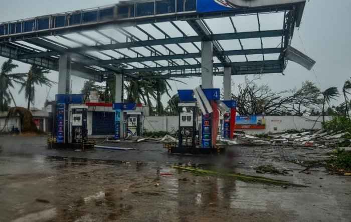 A view of the destruction caused by Cyclone Fani after its landfall in Puri. PTI
