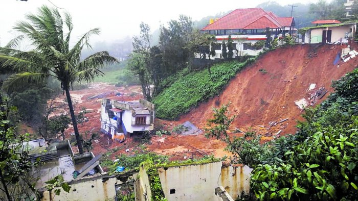 A house which collapsed during the flash floods last year, near Muttappa Temple in Madikeri.