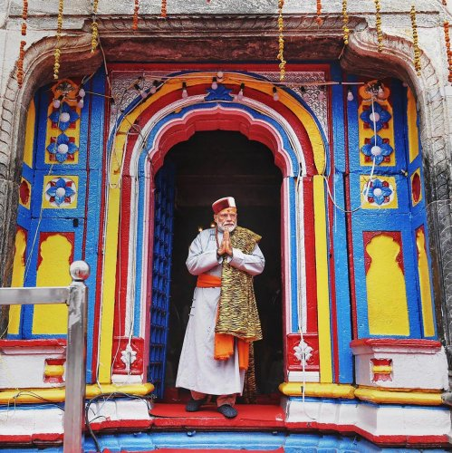 Kedarnath: Prime Minister Narendra Modi after paying obeisance at Kedarnath Temple, during his two-day pilgrimage to Himalayan shrines. (PTI Photo)