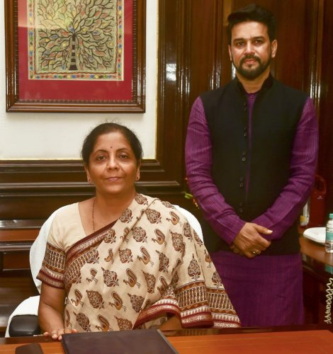 Finance Minister Nirmala Sitharaman along with MoS Finance and Corporate Affairs Anurag Singh Thakur. (PTI Photo)