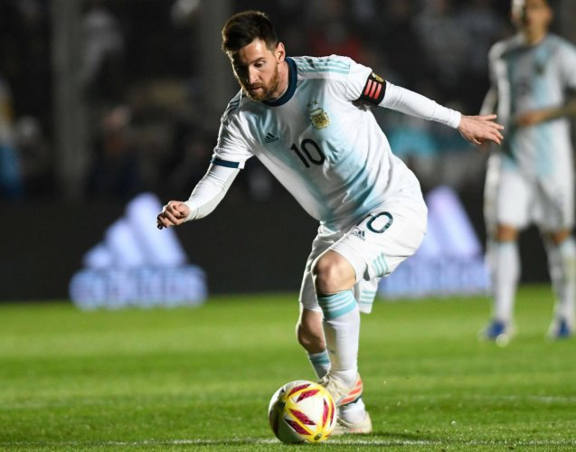 Lionel Messi drives the ball during the international friendly football match against Nicaragua at the San Juan del Bicentenario stadium in San Juan, Argentina, on June 7, 2019. AFP