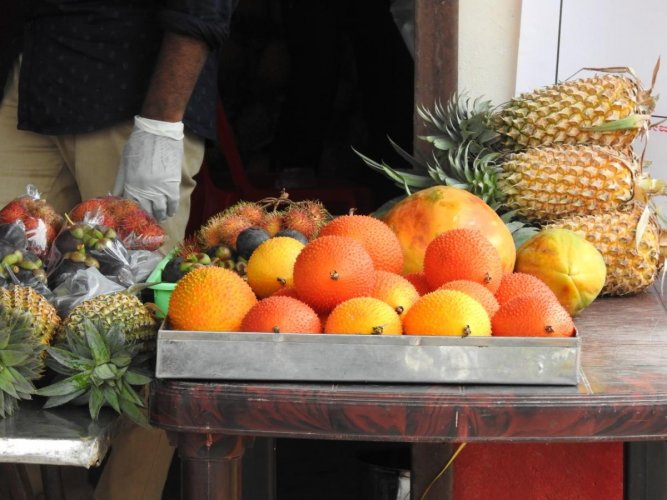 Fruits on display and for sale at the fruits mela.