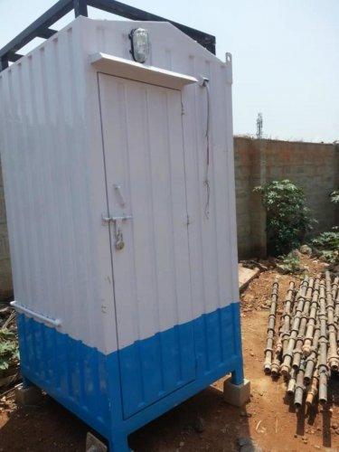 A mobile toilet at the Kundalahalli underpass construction site. Special arrangement