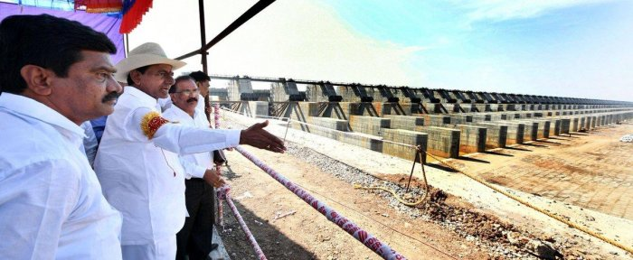 File photo of Telangana CM K Chandrasekhar Rao at the Kaleswaram project site.