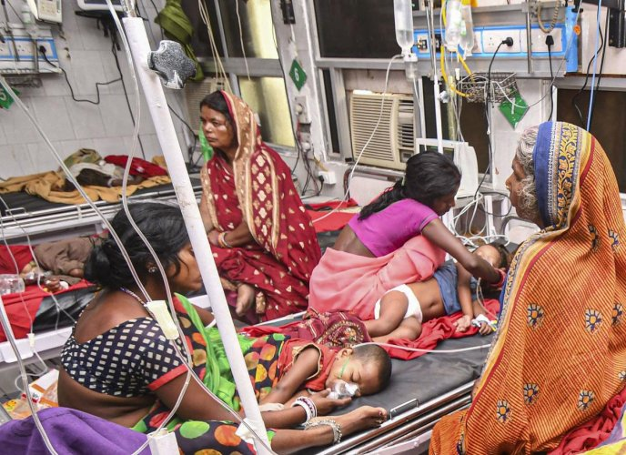 Children showing symptoms of Acute Encephalitis Syndrome (AES) being treated at a hospital in Muzaffarpur district, Tuesday, June 18, 2019. (PTI Photo)