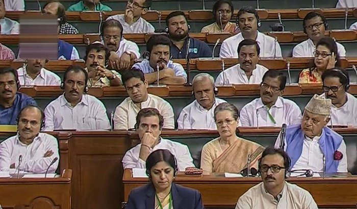 UPA Chairperson Sonia Gandhi, Congress President Rahul Gandhi and other opposition leaders during the 'Motion of Thanks on President's Address', at Parliament in New Delhi. (PTI File Photo)