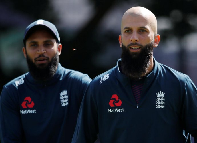 England's Adil Rashid and Moeen Ali during a training session at Edgbaston. (Reuters Photo)