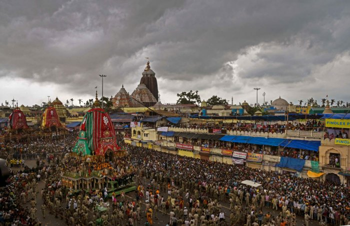 More than ten thousand police personnel including some very senior police officials are currently stationed in Puri for maintenance of law and order during the ongoing Rath Yatra festival. PTI file photo