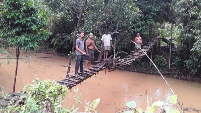 The delicate hanging bridge that connects Mathgar in Koppa and Bandhadlu in Theerthahalli taluk.