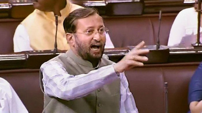 Union Minister for Environment, Forest & Climate Change and Information & Broadcasting Prakash Javadekar speaks in the Rajya Sabha during the Budget Session of Parliament (RSTV/PTI Photo)