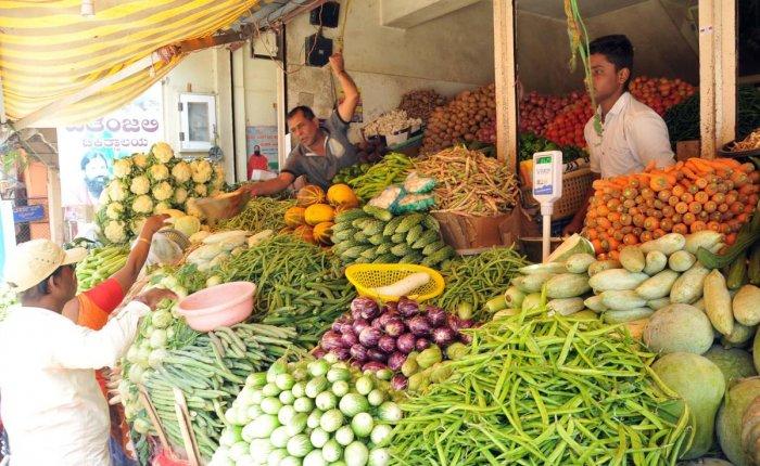 A vegetable shop in a Shettarabeedi in Chikkamagaluru.