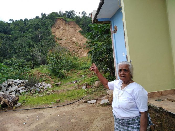 Mary, 81, of Upputhod in Idukki whose house was damaged by a landslide during August 2018 floods; (right) houses being constructed by raising pillars at Kuttanad in Alappuzha to survive the floods. dh photos/arjun raghunath
