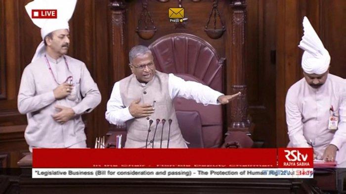 Rajya Sabha Deputy Chairman Harivansh Narayan Singh conducts the proceedings during the Budget Session of Parliament, in New Delhi, Monday, July 22, 2019. (RSTV Grab/PTI)