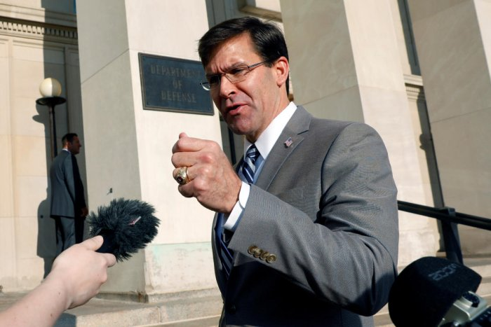 Mark Esper talks to reporters as he arrives for the first day on job as New U.S. Secretary of Defense at the Pentagon in Arlington, Virginia (Reuters Photo)