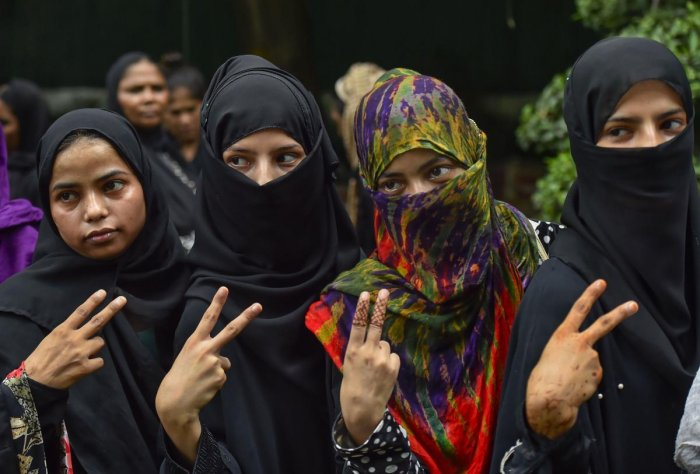 Muslim women celebrate the passage of Triple Talaq Bill. Photo credit: PTI