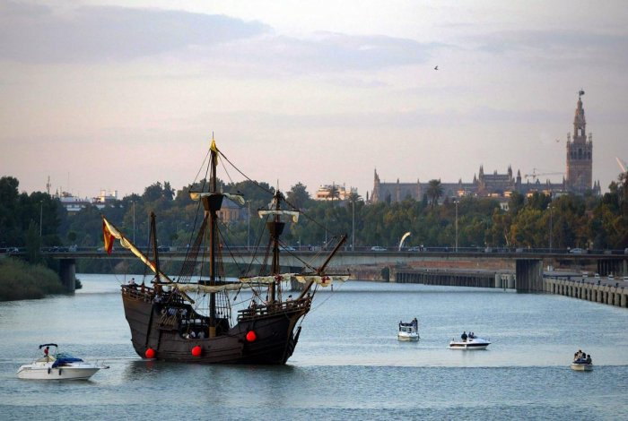 A replica model of Portuguese explorer Ferdinand Magellan's 16th century carrack Victoria leaves Sevilla. Ferdinand Magellan set sail from Spain 500 years ago on an epoch-making voyage to sail all the way around the globe for the first time. (AFP File Photo)