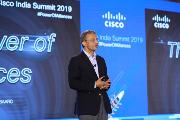 Sameer Garde, President, Cisco India and SAARC speaking at the summit.