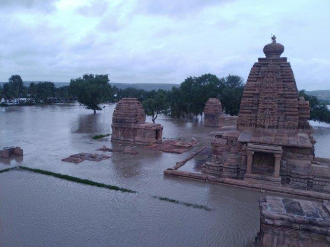 Pattadakal temple complex, a Unesco World Heritage site in Badami taluk, is under Malaprabha waters.