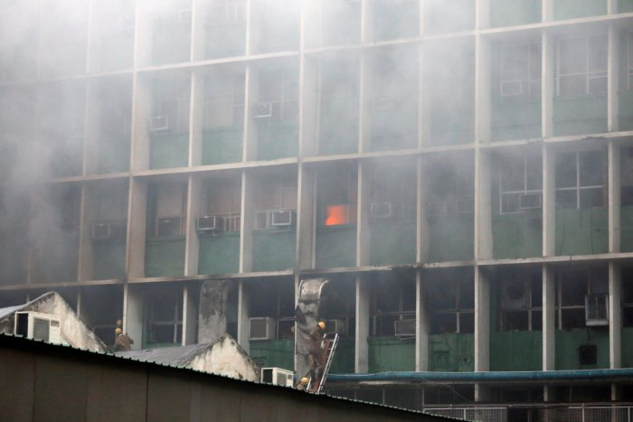 The fire, which is suspected to have started from the microbiology laboratory area, had affected some laboratories and office areas. (Reuters photo)