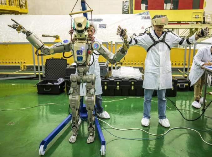 Russian humanoid robot Skybot F-850 (Fedor) being tested ahead of its flight onboard Soyuz MS-14 spacecraft at the Baikonur Cosmodrome in Kazakhstan. (Photo: AFP - official website of the Russian State Space Corporation)