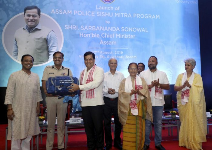 Child-friendly police kits released by Assam Chief Minister Sarbananda Sonowal in Guwahati on Thursday. Photo credit: Unicef, Assam.