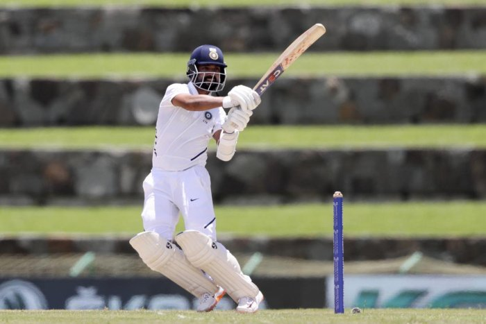 North Sound: India's Ajinkya Rahane plays a shot against West Indies during day one of the first Test cricket matches at the Sir Vivian Richards cricket ground in North Sound. (PTI Photo)