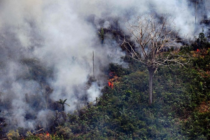 Aerial picture showing a fire in a piece of land in the Amazon rainforest (AFP Photo)