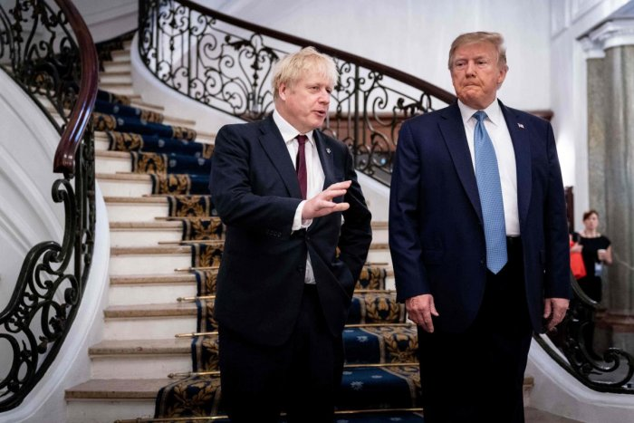"Trump lavished praise on Johnson as the ""right man"" to lead his country into Brexit while the new UK premier also held a prickly meeting with EU Council chief Donald Tusk after a bitter exchange the day earlier."