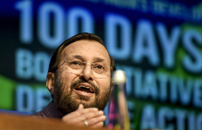 Union Environment Minister Prakash Javadekar addresses a press conference on completion of 100 days of the government, in New Delhi, on Sunday. PTI