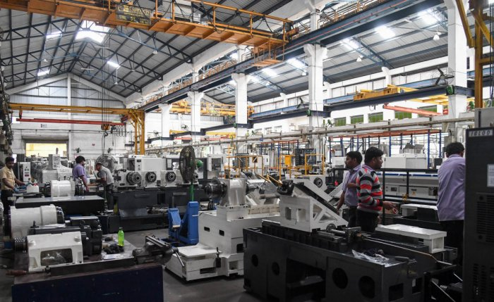 A machine tools manufacturing company in Peenya Industrial Area, Bengaluru. Besides micro and small industries, some medium industries have also been affected by the slowdown. DH Photo/ B H Shivakumar
