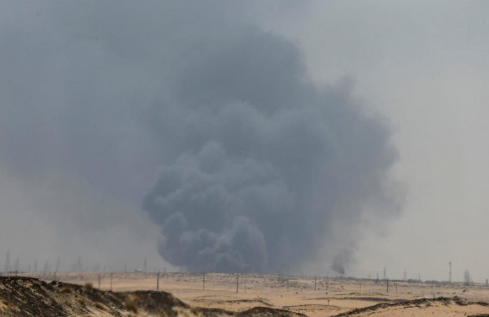 Smoke is seen following a fire at Aramco facility in the eastern city of Abqaiq, Saudi Arabia. (Reuters Photo)
