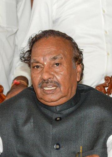Rural Development and Panchayat Raj Minister K S Eshwarappa. (DH Photo)