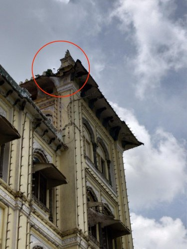 The damaged portion of the roof of the Mysuru Palace.