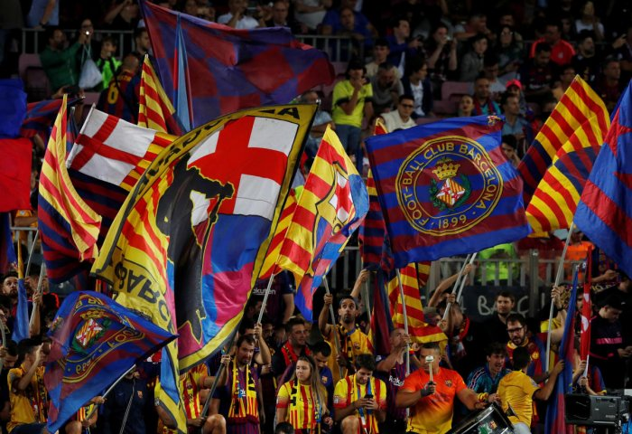 """""""The resolution of the conflict in Catalonia must come exclusively from political dialogue,"""" the club said in a statement. (Reuters File Photo)"""