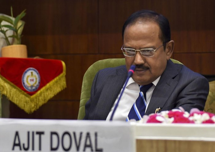 National Security Advisor Ajit Doval during the National Investigation Agency(NIA)'s national conference of Chiefs of Anti-Terrorism Squad/ Special Task Force, in New Delhi on Monday. (PTI Photo)