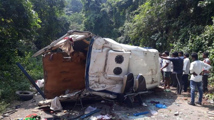 The van which fell into a gorge in AP on Tuesday.