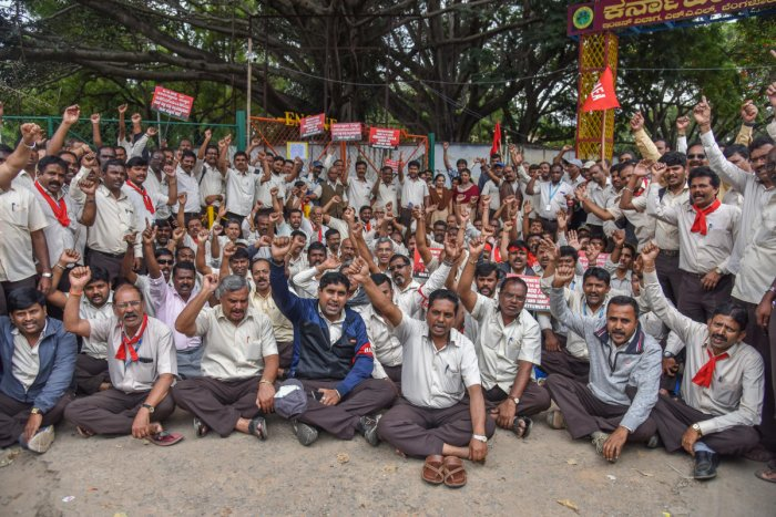 Hindustan Aeronautics Limited (HAL) Employees staging indefinite strike fourth day, demanding for fair and early wage revision, under the banner of All India HAL Trade Unions Co ordination committee in front of HAL, C V Raman Nagar, Bengaluru on Thursday.