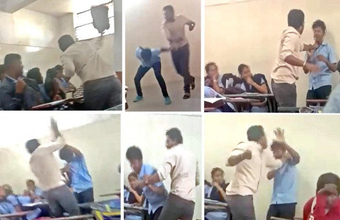 A video grab shows the teacher of a PU college in Rajajinagar beating up a student in the classroom.