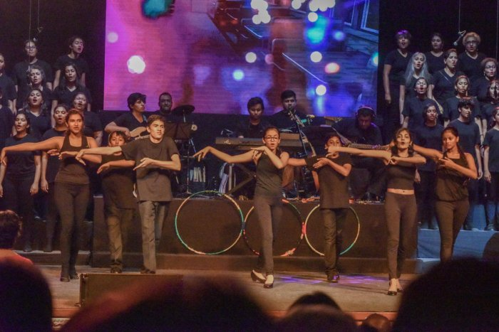 Children, elders singing at Big Bang, hits from Hollywood and Bollywood, The Bangalore Chorus at Gurunanak Bhavan in Bengaluru on Saturday.