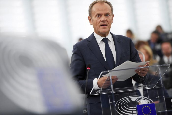 European Council President Donald Tusk speaks during a debate on the results of October EU summit at the European Parliament on October 22, 2019 in Strasbourg, eastern France. (AFP)