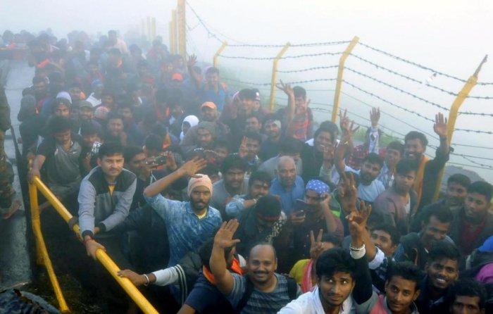 Devotees at Deviramma Betta in Chikkamagaluru.