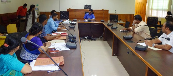 Udupi Deputy Commissioner Jagadeesh speaks at a meeting of the district-level task force at his office in Manipal.